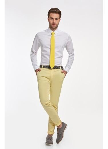 Hemington Çizgili Ince Business Gömlek Beyaz
